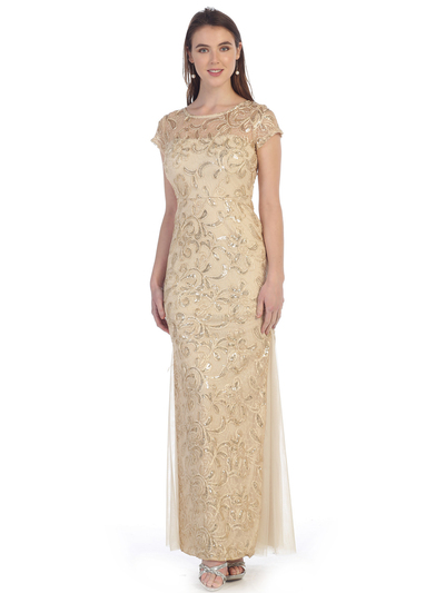 SF-8835 Sleeveless Chiffon Long Evening Dress - Gold, Front View Medium