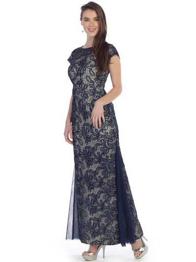 SF-8835 Sleeveless Chiffon Long Evening Dress - Navy Gold, Front View Medium