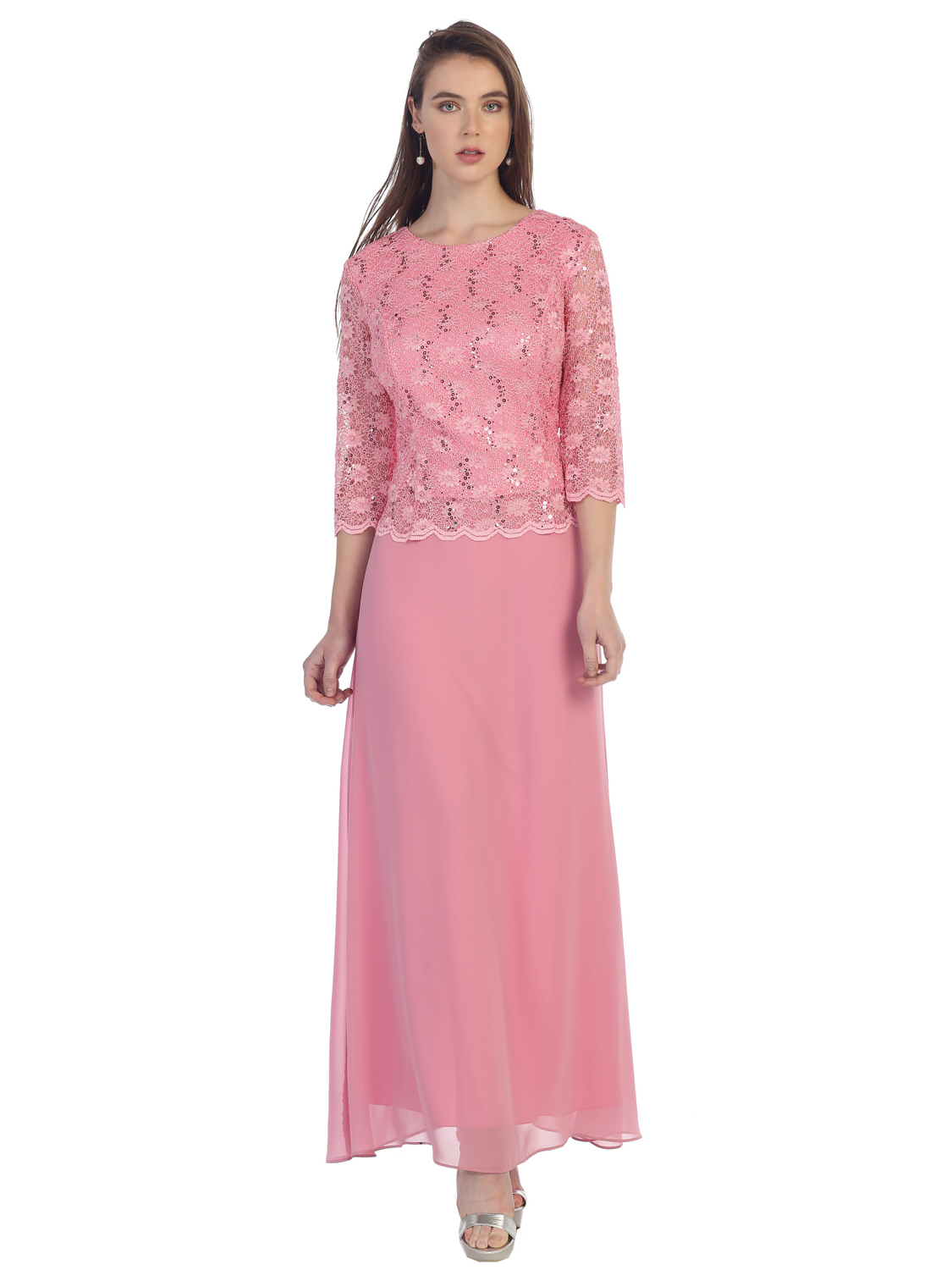 Three Quarter Sleeve Lace Overlay Evening Dress Sung