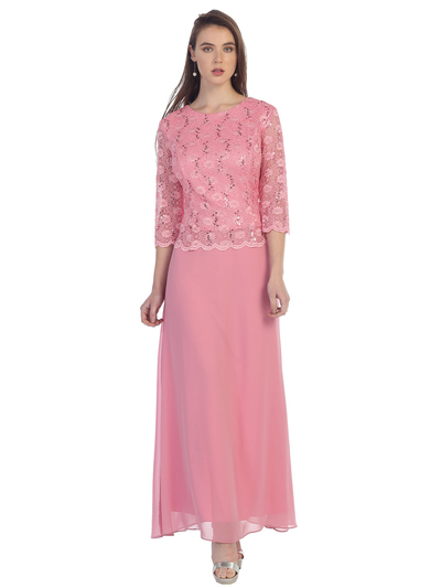 SF-8837 Three-Quarter Sleeve Lace Overlay Evening Dress - Dusty Rose, Front View Medium