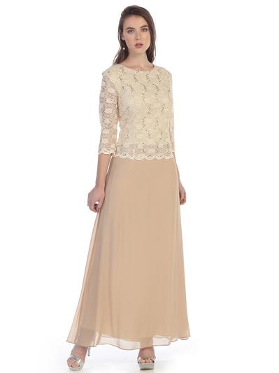 SF-8837 Three-Quarter Sleeve Lace Overlay Evening Dress - Gold, Front View Medium