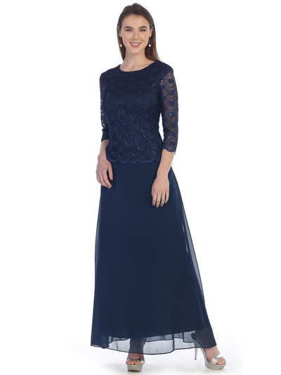 SF-8837 Three-Quarter Sleeve Lace Overlay Evening Dress - Navy, Front View Medium
