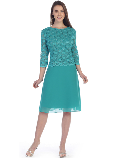 SF-8838 Three-Quarter Sleeve Lace Overlay Cocktail Dress - Jade, Front View Medium