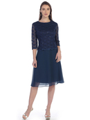 SF-8838 Three-Quarter Sleeve Lace Overlay Cocktail Dress, Navy