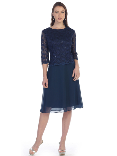 SF-8838 Three-Quarter Sleeve Lace Overlay Cocktail Dress - Navy, Front View Medium
