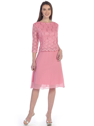 SF-8838 Three-Quarter Sleeve Lace Overlay Cocktail Dress - Rose, Front View Medium