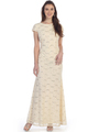 SF-8841 Floor Length Cap Sleeve Evening Dress with Sequin - Khaki, Front View Thumbnail
