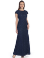 SF-8841 Floor Length Cap Sleeve Evening Dress with Sequin - Navy, Front View Thumbnail