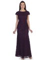 SF-8841 Floor Length Cap Sleeve Evening Dress with Sequin - Plum, Front View Thumbnail