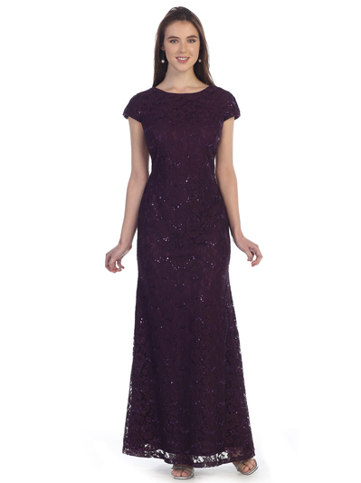 SF-8841 Floor Length Cap Sleeve Evening Dress with Sequin - Plum, Front View Medium