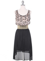 SH170 Black Leopard Chiffon High-low Cocktail Dress - Black Leopard, Front View Thumbnail