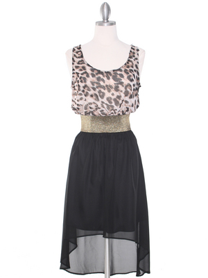 SH170 Black Leopard Chiffon High-low Cocktail Dress, Black Leopard