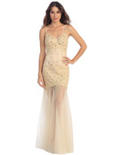 V-Neck Embroidery & Bead Overlay Gown with Illusion Skirt