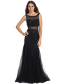 ST581 Scoop Neck Illusion Cutout Back Evening Dress - Black, Front View Thumbnail