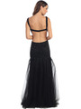 ST581 Scoop Neck Illusion Cutout Back Evening Dress - Black, Back View Thumbnail