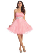 Strapless Empire Homecoming Dress