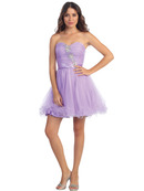 Pleated Strapless Homecoming Dress