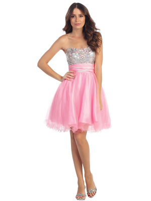 ST6035 Sequin Bodice Homecoming Dress, Pink