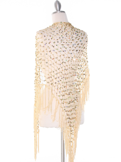 SHAWLG Crochet Sequin Triangle Shawl - Gold, Back View Medium