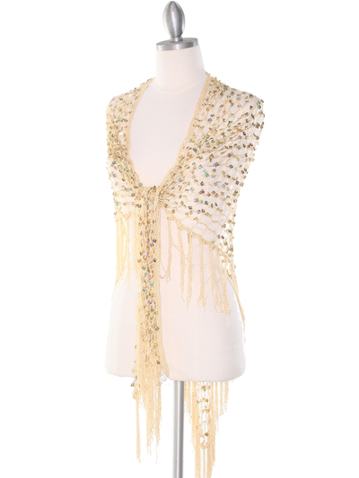 SHAWLG Crochet Sequin Triangle Shawl - Gold, Front View Medium