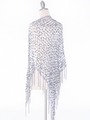 SHAWLG Crochet Sequin Triangle Shawl - Silver, Back View Thumbnail