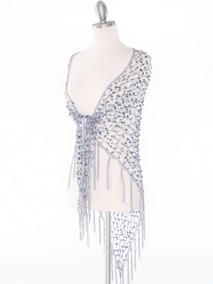 SHAWLG Crochet Sequin Triangle Shawl, Silver