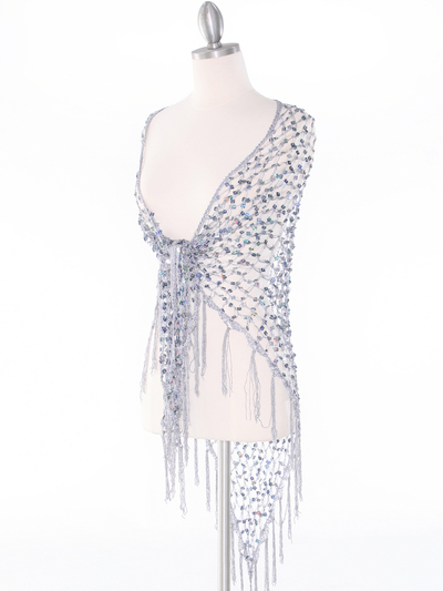 SHAWLG Crochet Sequin Triangle Shawl - Silver, Front View Medium