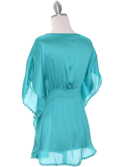 TP105 Aqua Silk Chiffon Top - Aqua, Back View Medium