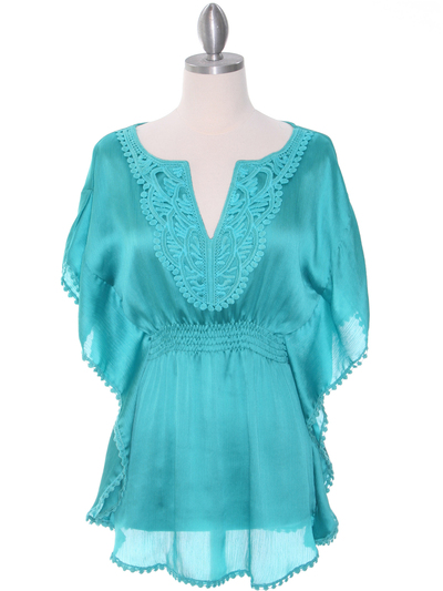 TP105 Aqua Silk Chiffon Top - Aqua, Front View Medium