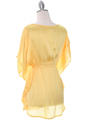 TP105 Yellow Silk Chiffon Top - Yellow, Back View Thumbnail