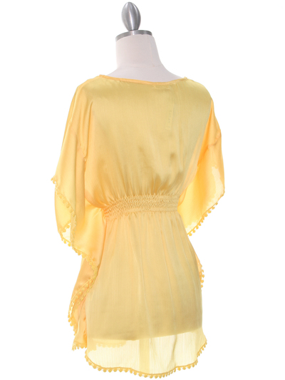 TP105 Yellow Silk Chiffon Top - Yellow, Back View Medium