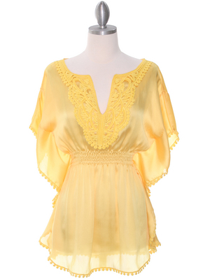 TP105 Yellow Silk Chiffon Top, Yellow
