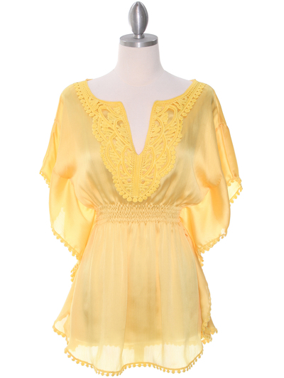 TP105 Yellow Silk Chiffon Top - Yellow, Front View Medium