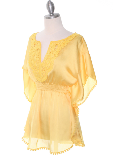 TP105 Yellow Silk Chiffon Top - Yellow, Alt View Medium