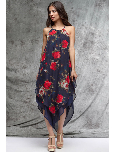 YL17139 Navy Flora Maxi Dress - Navy, Front View Medium