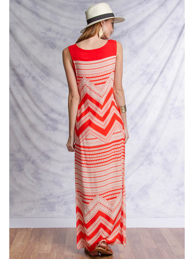 YL17329 Sleeveless Maxi Dress with Slit - Tomato, Back View Medium