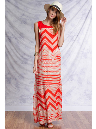 YL17329 Sleeveless Maxi Dress with Slit - Tomato, Front View Medium