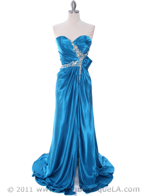 Teal Charmeuse Strapless Evening Dress - Front Image