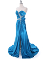 Teal Charmeuse Strapless Evening Dress - Alt Image