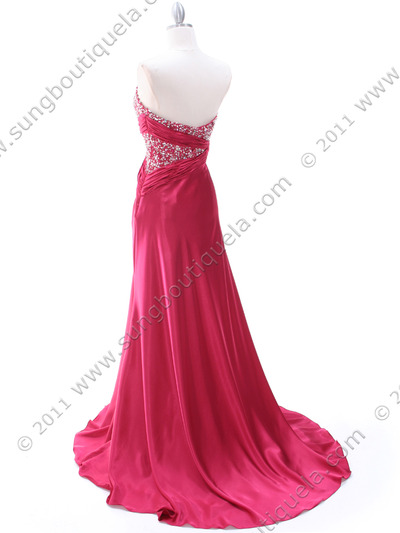 C1643 Raspberry Charmeuse Strapless Evening Dress - Raspberry, Back View Medium