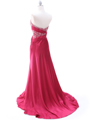 Raspberry Charmeuse Strapless Evening Dress - Back Image