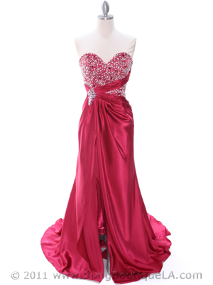 Raspberry Charmeuse Strapless Evening Dress - Front Image