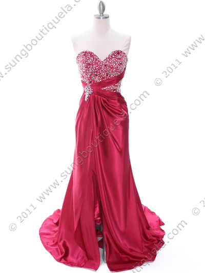 C1643 Raspberry Charmeuse Strapless Evening Dress - Raspberry, Front View Medium