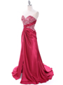 C1643 Raspberry Charmeuse Strapless Evening Dress - Raspberry, Alt View Thumbnail