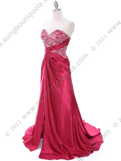 C1643 Raspberry Charmeuse Strapless Evening Dress - Raspberry, Alt View Medium
