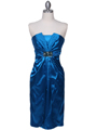 C5077 Turquoise Strapless Cocktail Dress - Turquoise, Front View Thumbnail