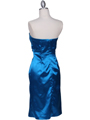 C5077 Turquoise Strapless Cocktail Dress - Turquoise, Back View Thumbnail