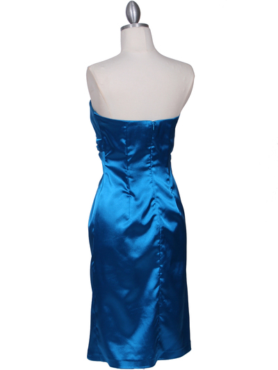 C5077 Turquoise Strapless Cocktail Dress - Turquoise, Back View Medium