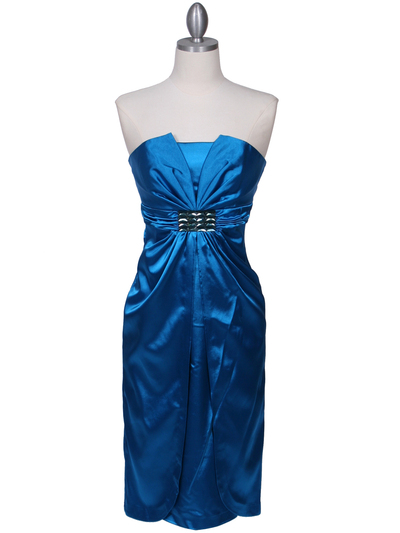 C5077 Turquoise Strapless Cocktail Dress - Turquoise, Front View Medium