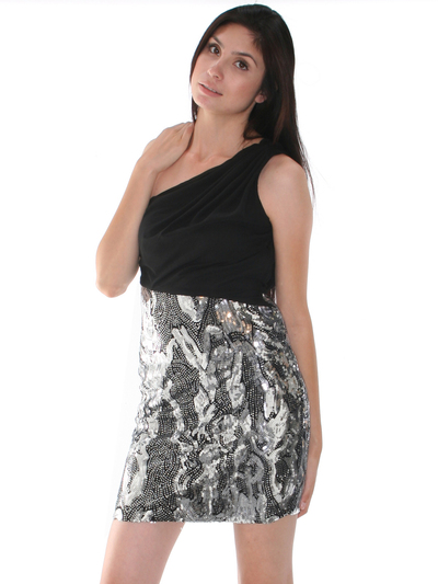 CE1193 One Shoulder Chiffon Sequin Party Dress - Black Silver, Front View Medium